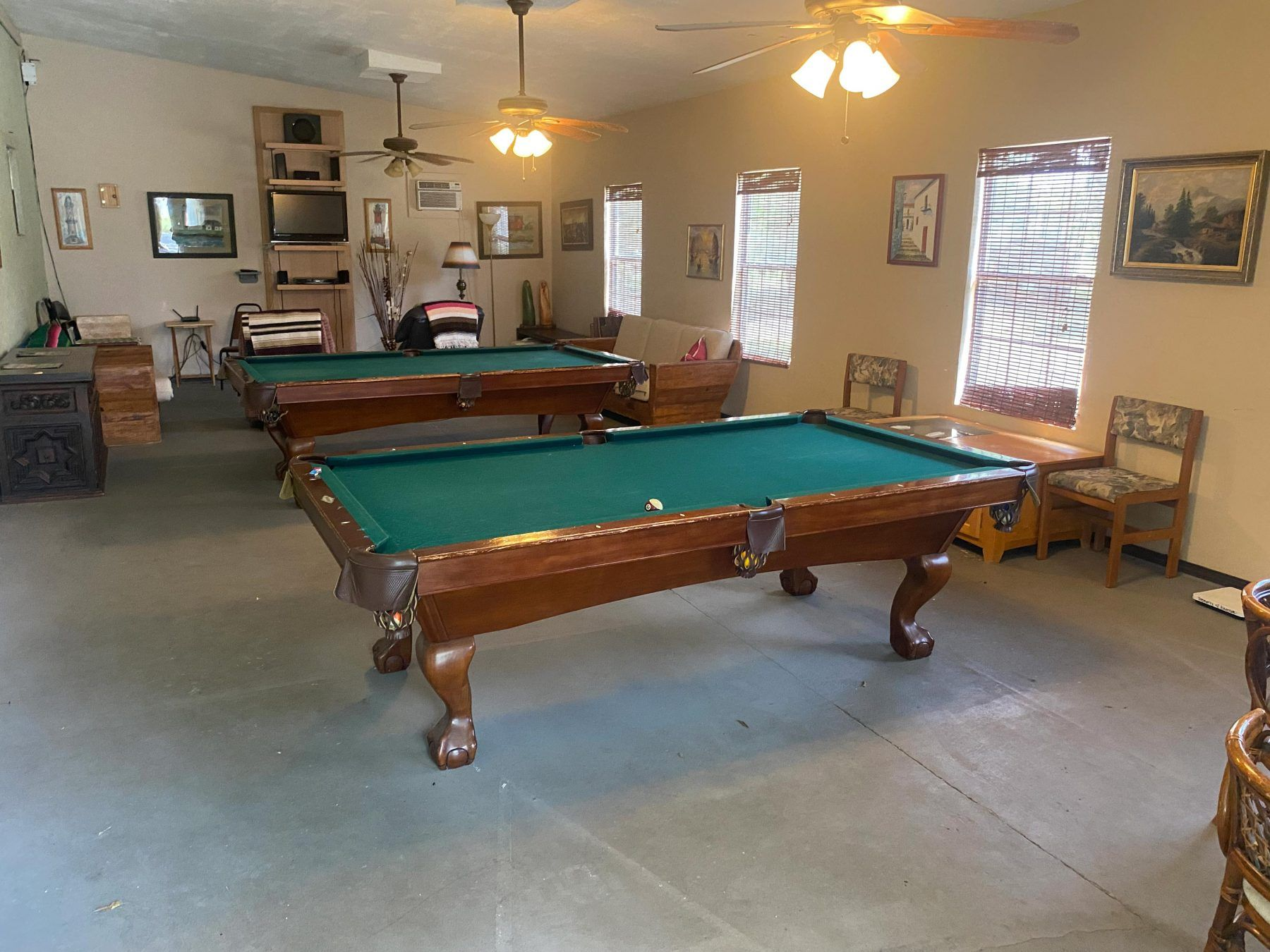 Pool tables in our Palmview, TX RV park clubhouse